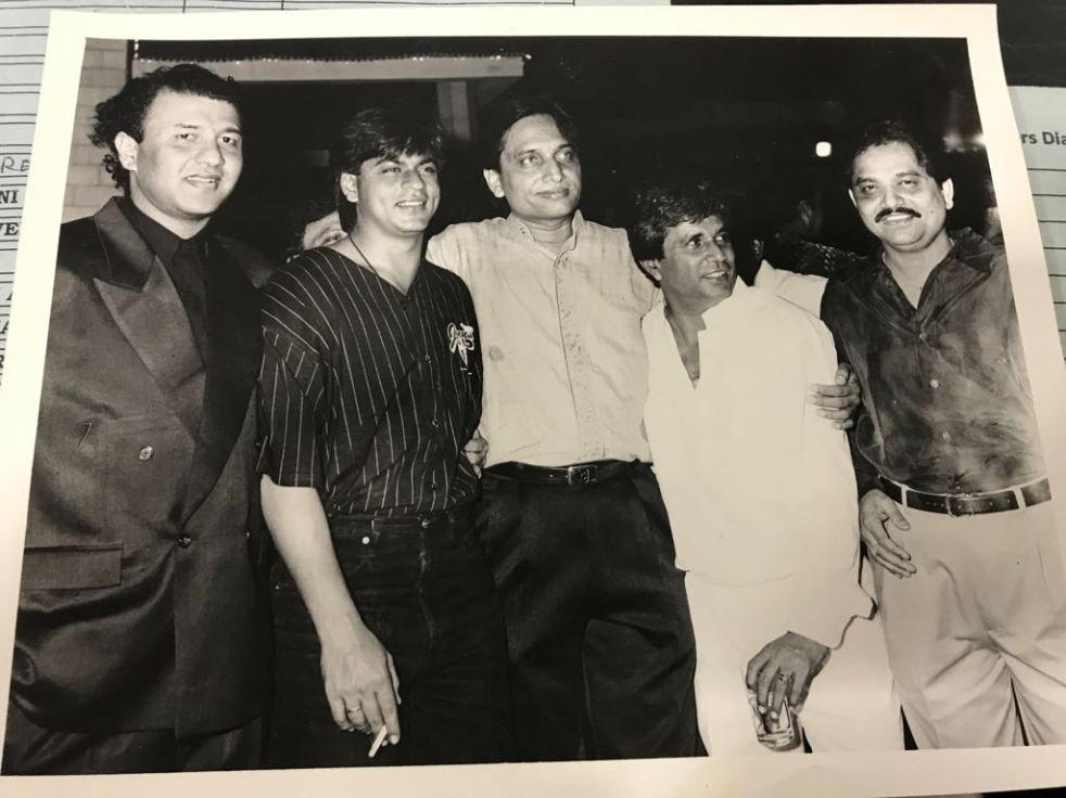A file picture of RK on the sets of Baazigar with Anu Malik, Ratan Jain, Abbas and Ganesh Jain